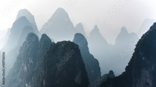 Staande foto Guilin Beautiful mountain landscape in Yangshuo Guilin, China.