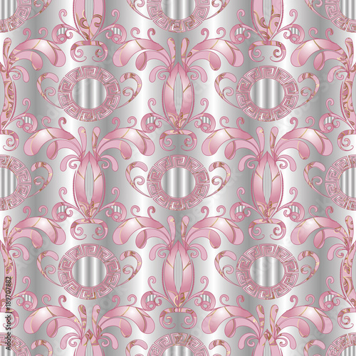 Silver Floral Seamless Pattern Vector White 3d Background With Hand