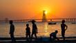 Sunset , beach and kids