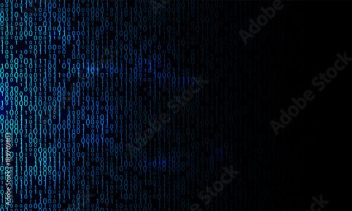 Fotografía  Blue binary background. Modern network algorithm illustration