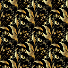Gold Floral 3d Seamless Patter...