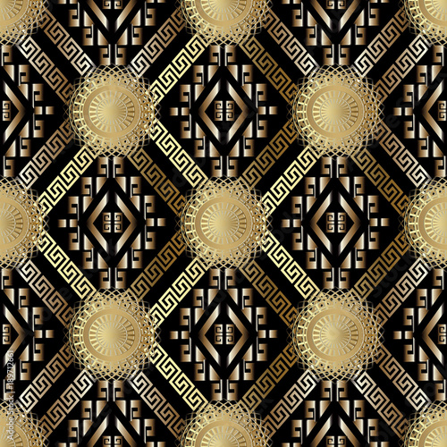 Meander Greek Key Tribal Vector Seamless Pattern Black Geometric