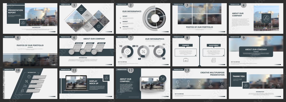 Fototapeta Abstract white, gray presentation slides. Modern brochure cover design. Fancy info banner frame. Creative infographic elements set. Urban city font. Vector title sheet model. Ad flyer style template - obraz na płótnie