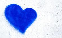 Blue Heart On Concrete Wall