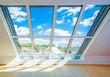 canvas print picture - helles sonnendurchflutetes Dachfenster