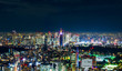 Asia Business concept for real estate & corporate construction - panoramic modern city skyline view of Shinjuku district with neon night in Roppongi Hill, Tokyo, Japan
