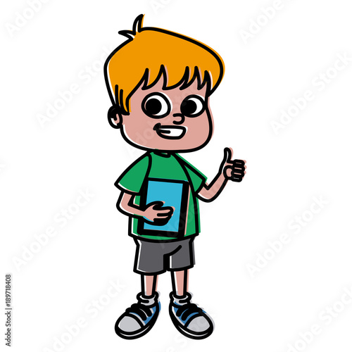 Poster Ouest sauvage Cute school boy cartoon icon vector illustration graphic design