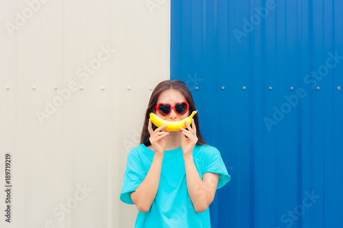 dd021949c3ce Heart Shape Sunglasses Woman with Funny Big Banana Smile - Buy this ...
