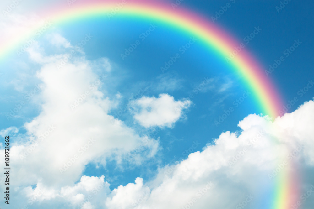Fototapety, obrazy: Rainbow in Blue sky