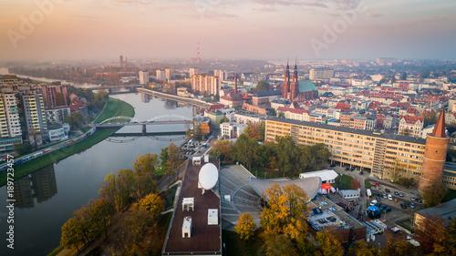Krajobraz miasto opole z drona - fototapety na wymiar
