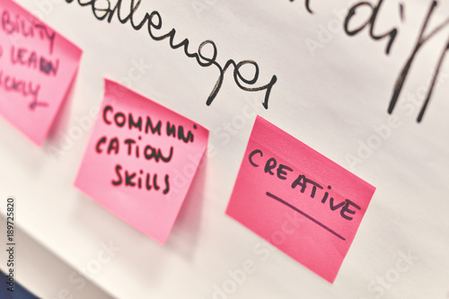 Creative written on pink and yellow paper stickers attached to a flip chart on a whiteboard