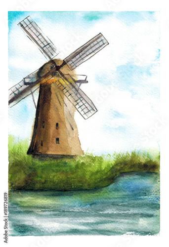 Akwareli ręka rysująca ilustracja krajobraz z młynem na brzeg rzeki sztuce