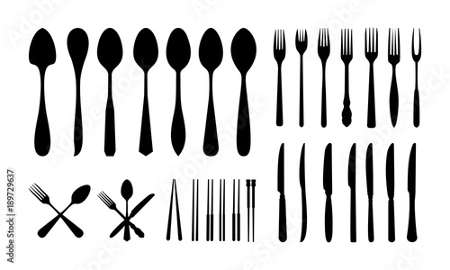 set of Cutlery Icon Silhouette, Spoon Fork Knife and Chopsticks silhouette vecto Canvas