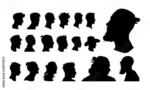 Photographie set of detailed man head avatar face silhouette vector illustration