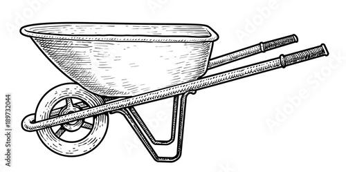 Canvas Wheelbarrow illustration, drawing, engraving, ink, line art, vector
