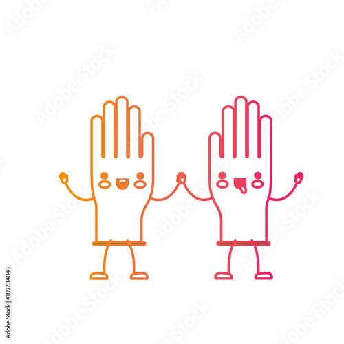 Fototapeta kawaii cartoon pair gloves holding hands in degraded yellow to magenta silhouette vector illustration obraz na płótnie