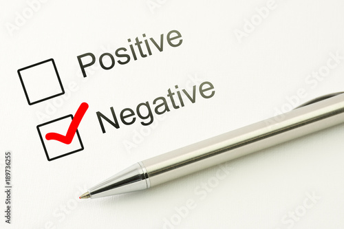 questionnaire negative choice or positive marked checkbox with a