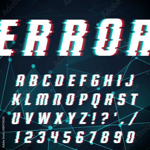 Fotobehang Draw Font in glitch style.