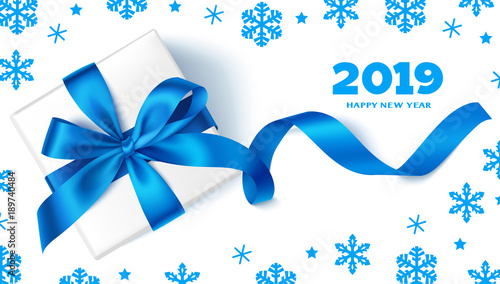 happy new year 2019decorative new year background with gift box blue bow