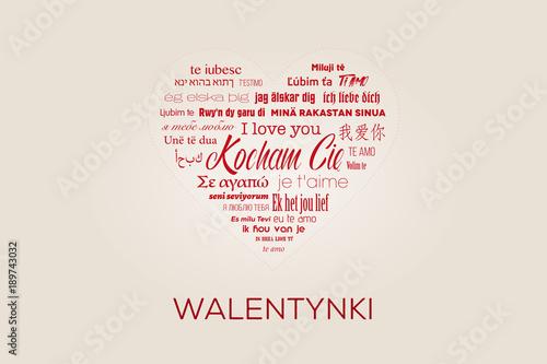 """Duże czerwone serce z napisami """"Kocham Cię"""" w wielu językach z podpisem """"Walenty Wallpaper Mural"""