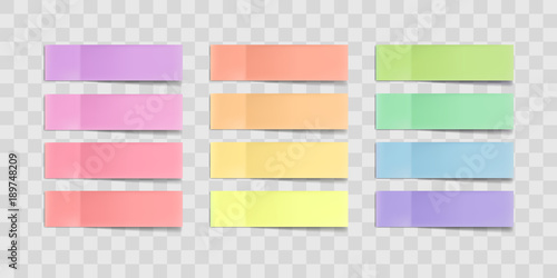 Fotografie, Obraz  Vector colorful sticky notes, post stickers with shadows isolated on a transparent background