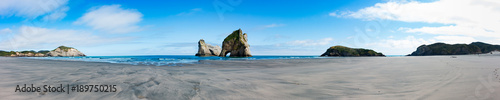 Aluminium Prints Dark grey New Zealand wharariki beach and arch island rock formations