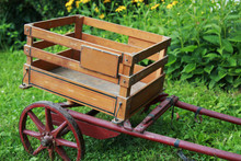 Antique Wooden Trolley With Re...