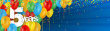 5 YEARS - HAPPY BIRTHDAY/ANNIVERSARY BANNER WITH COLOURFUL BALLOONS