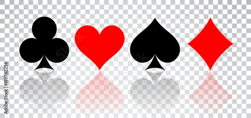 Photo Set of hearts, spades, clubs and diamonds with reflection on transparent backgro