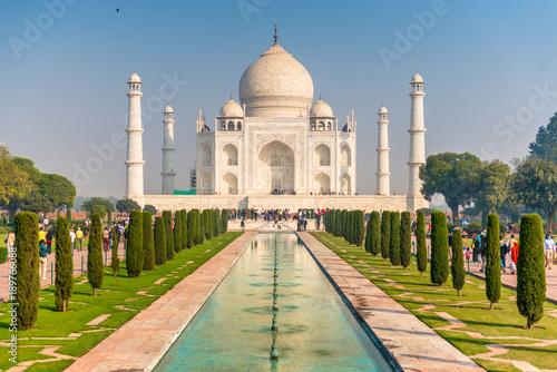 Fotografie, Obraz  Taj Mahal with fountain in front, Agra, Uttar Pradesh