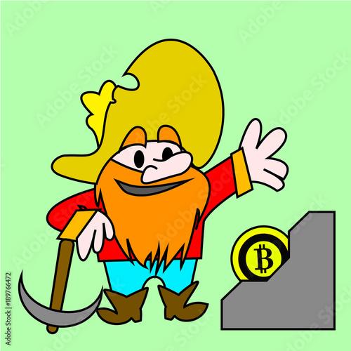 Poster Pirates bitcoin cartoon mining color vector design