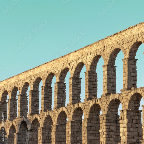 Photo of ancient Roman aqueduct in Segovia, Spain Wallpaper Mural