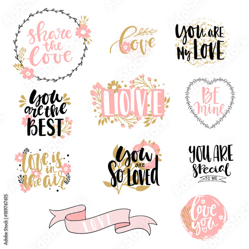 Fotografie, Obraz  Lettering collection with love theme