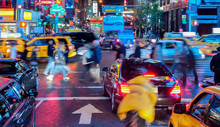 Traffic Scene In New York City By Night