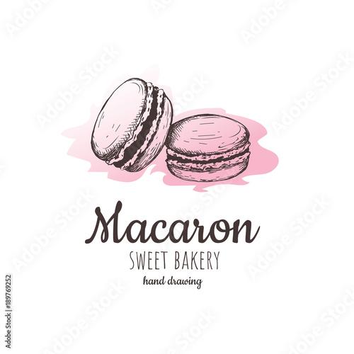 Acrylic Prints Macarons macaron, macaroon almond cakes, macaron sketch.