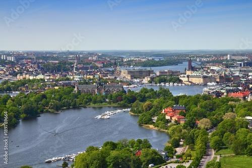 Stampa su Tela  Stockholm aerial view