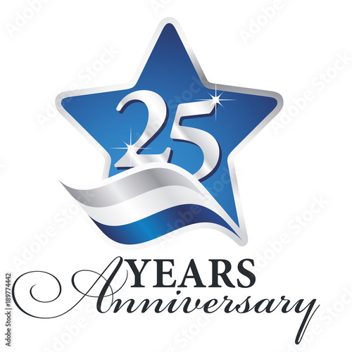 Foto  25 years anniversary isolated blue star flag logo icon