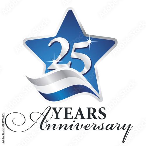 Αφίσα  25 years anniversary isolated blue star flag logo icon