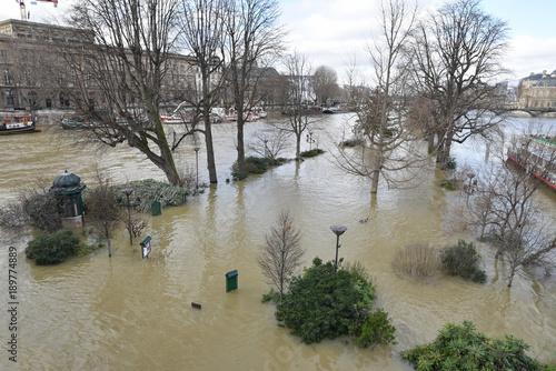 Fotografia  Seine en crue au square du Vert-Galant à Paris, France