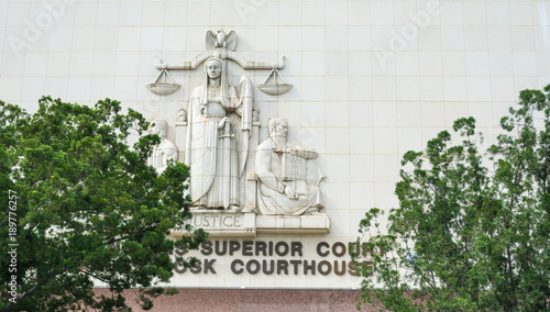 Superior court facade in downtown Los Angeles