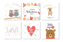 Lovely Set Of 6 Valentines Day Gift Card  With Heart, Teddy Bear And Lettering Love