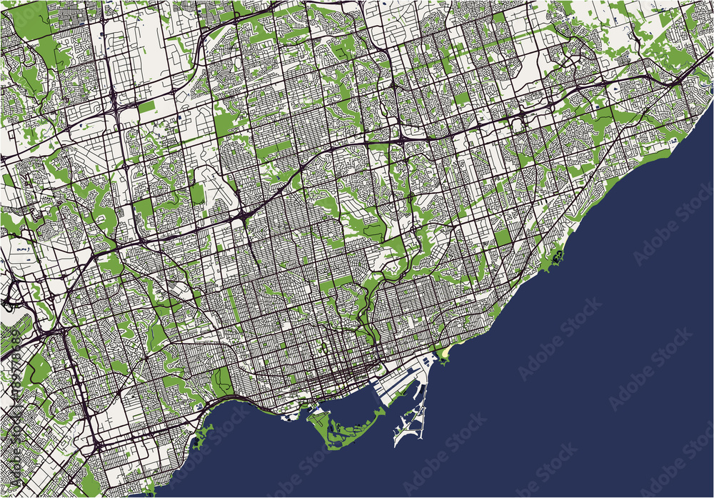 vector map of the city of Toronto, Canada Foto, Poster, Wandbilder ...