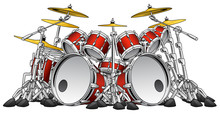 Huge Hard Rock Drum Set Musical Instrument Vector Illustration
