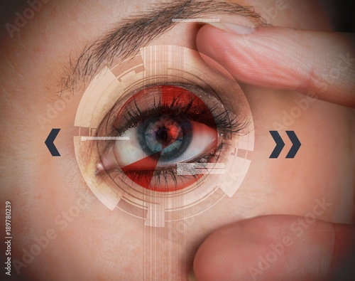 Woman stretching her eye for a security authentication