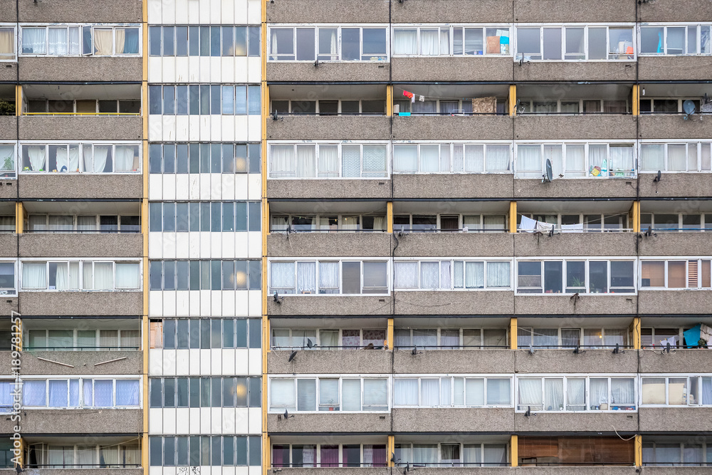 Fototapeta Facade of old council tower block in south east London