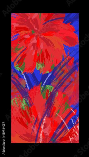 Fotobehang Art Studio Abstract color image with hibiscus