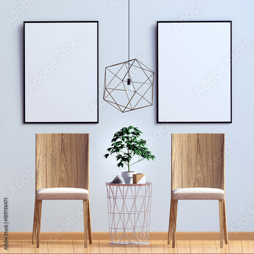 Modern interior with chair. Poster mock up. 3d illustration.