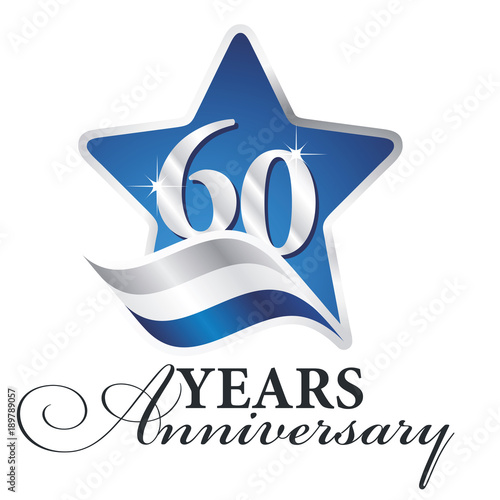 Poster  60 years anniversary isolated blue star flag logo icon