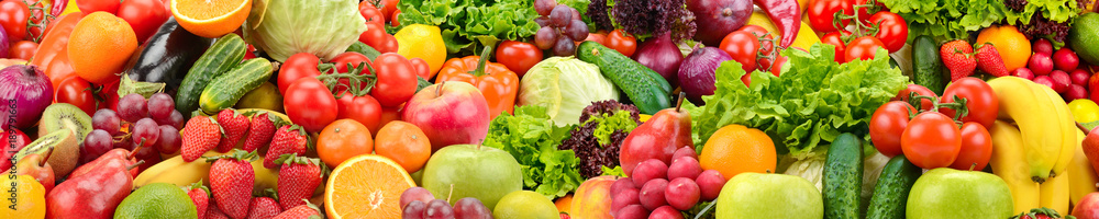 Fototapety, obrazy: Panoramic collection healthy fruits and vegetables.