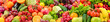 Leinwandbild Motiv Panoramic collection healthy fruits and vegetables.